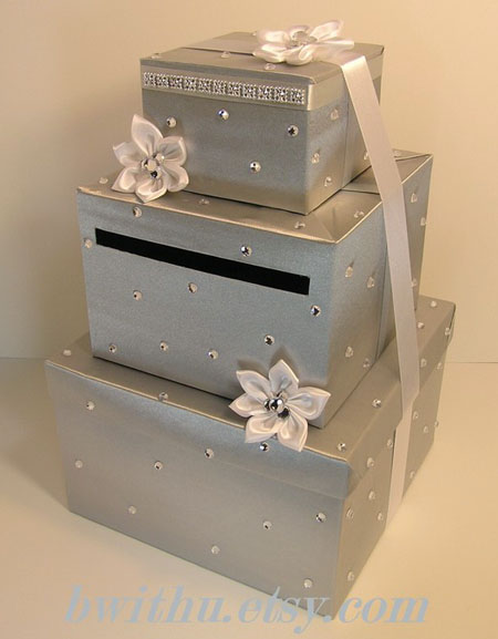 silver wedding card box