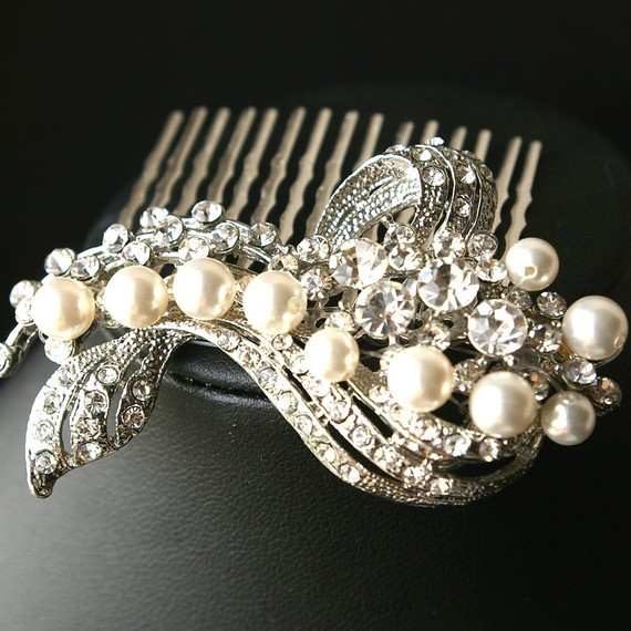 diamond bridal hair clip