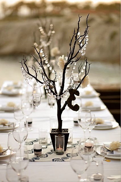 crystal wedding table decor Photo Credit Kate 39n Kylie