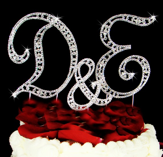 diamond monogram cake topper