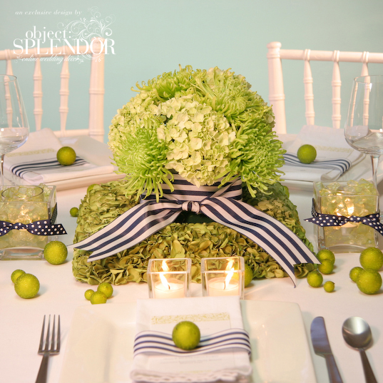 green wedding centerpiece Photo credit Object Splendor