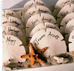 beach themed wedding details