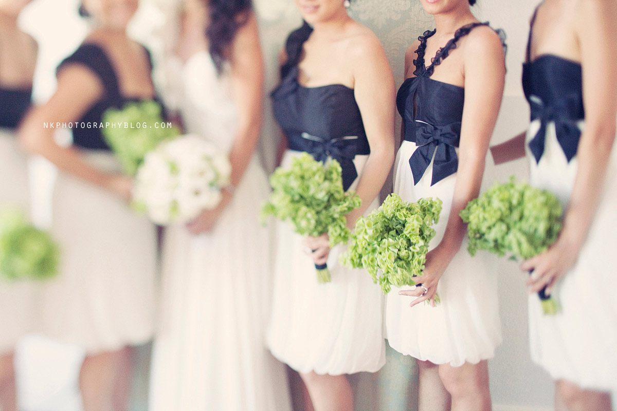 bridesmaid dresses white and black
