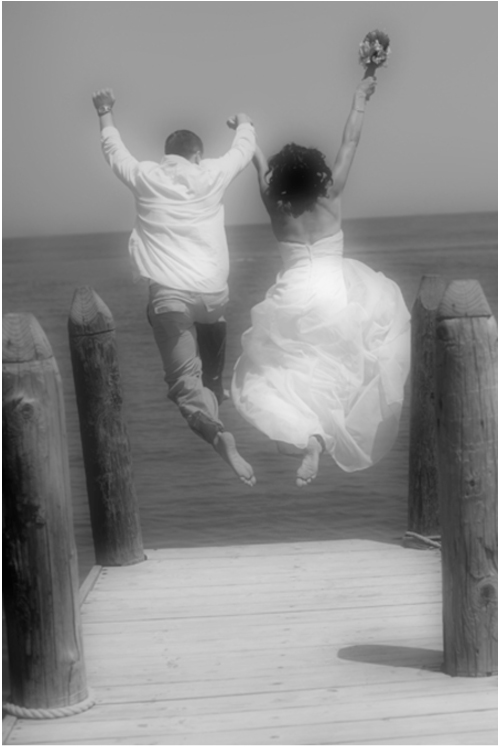 bride groom jumping