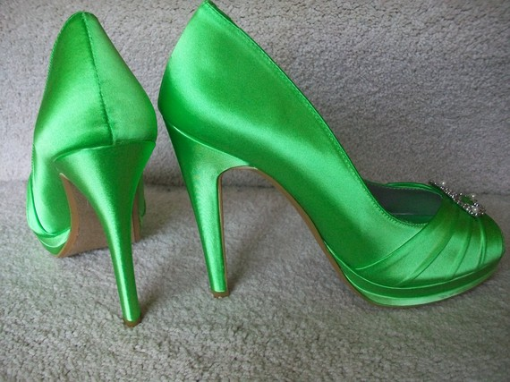 green wedding heels