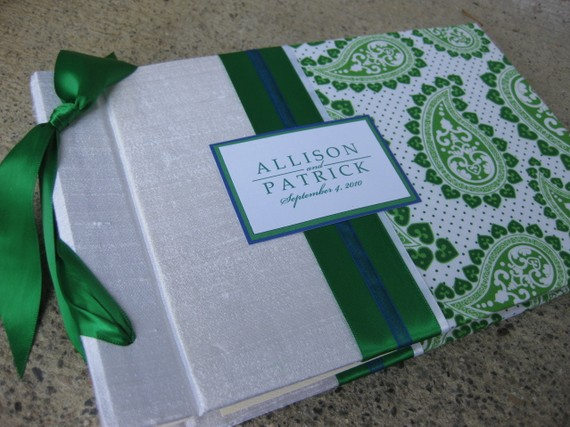 green wedding guestbook