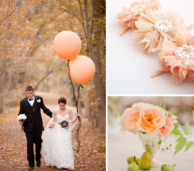peach wedding details