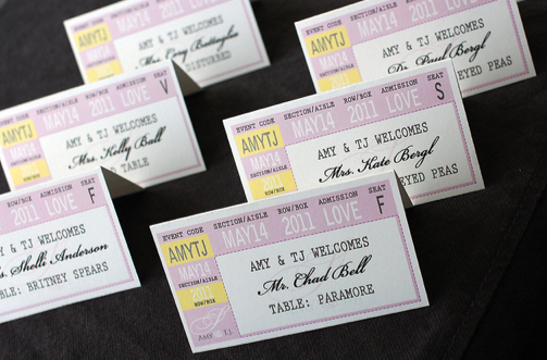 ticket escort cards