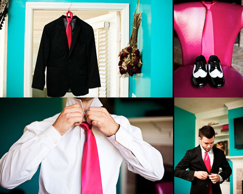 hot pink groom attire
