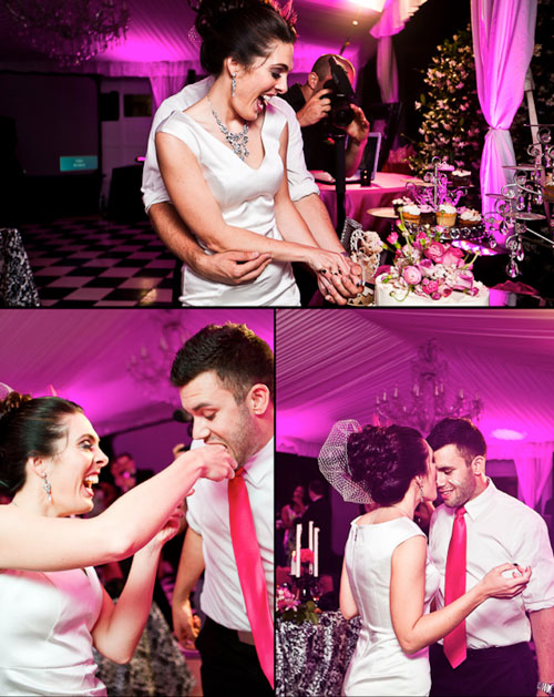 hot pink wedding uplighting