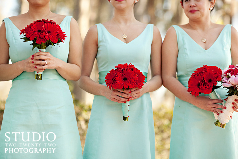 red mint wedding