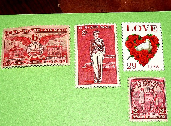 red green wedding stamps