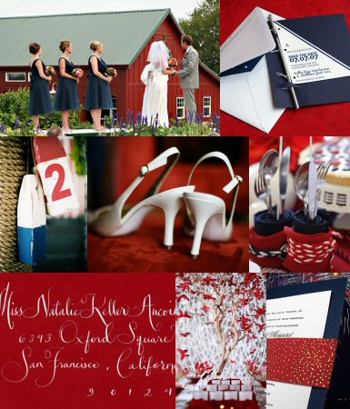 navy and red weddings