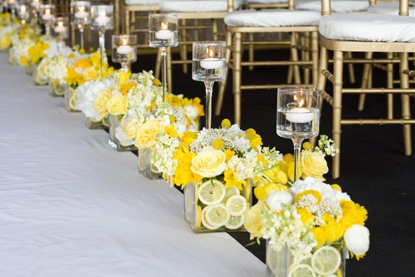 yellow ceremony flowers