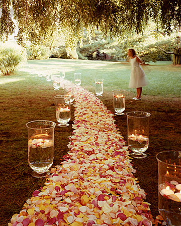 wedding aisle petals