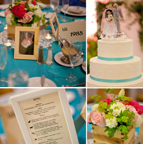 blue pink wedding details