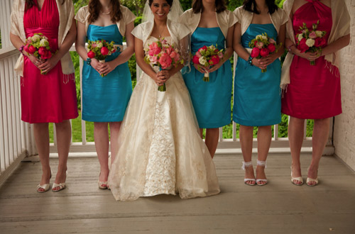 blue pink bridesmaids