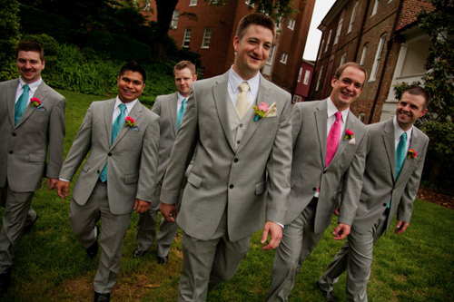 blue pink groomsmen ties