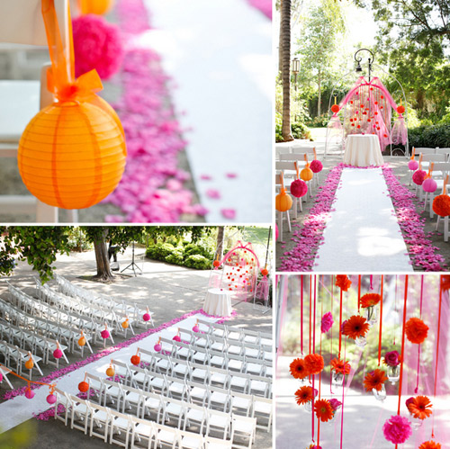 colorful outdoor ceremony decor