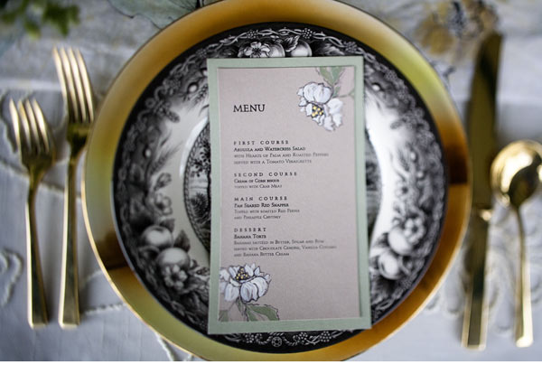 magnolia wedding menu cards