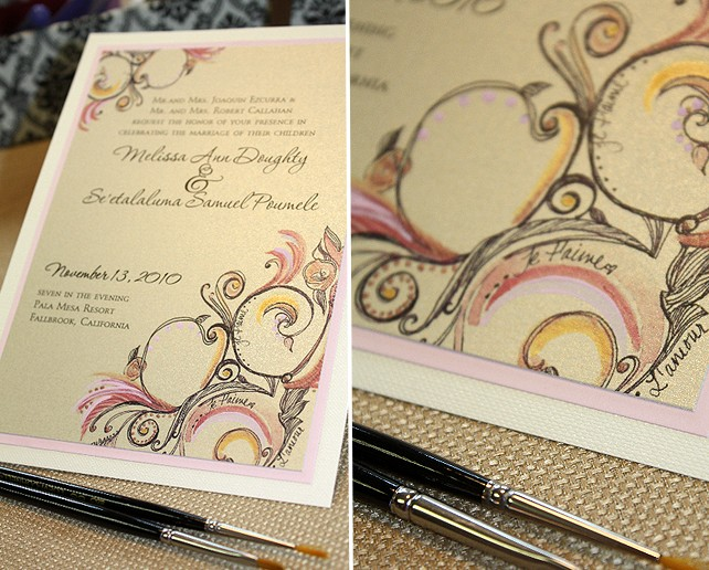 pink champagne wedding invitations