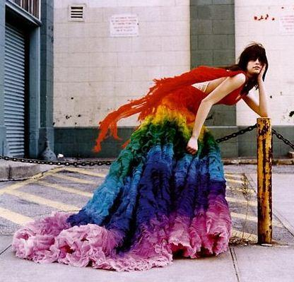 rainbow wedding dress