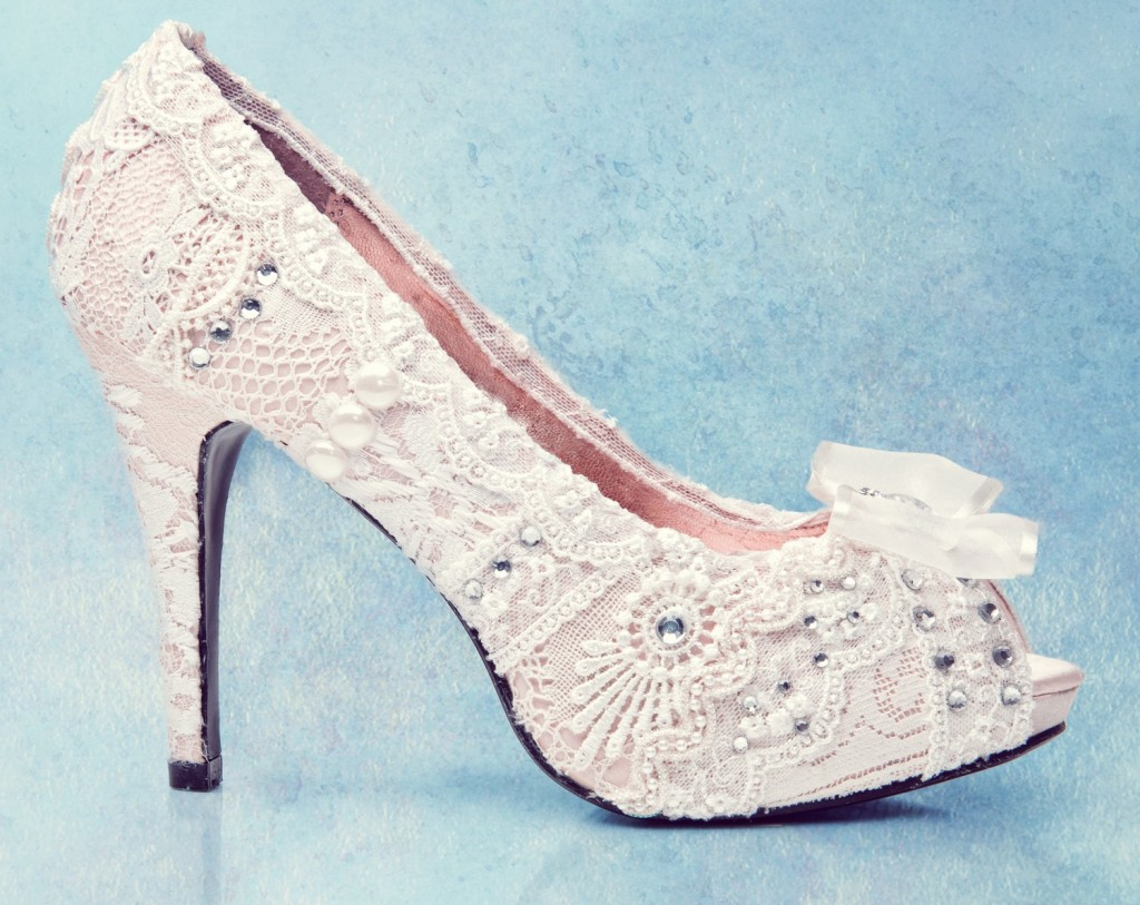 patterned wedding shoe