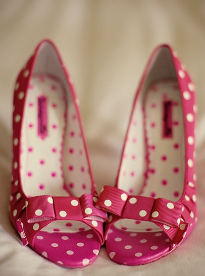 pink polka dot wedding shoes