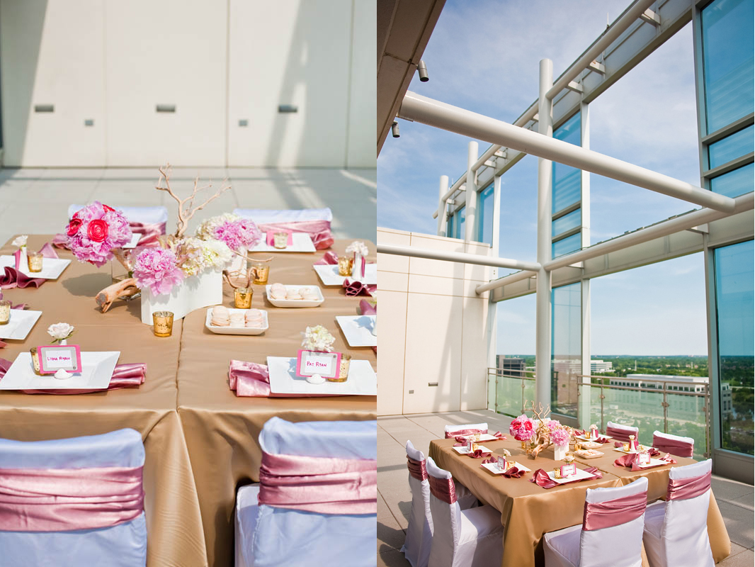 pink gold table setting