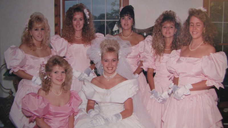 80s pink bridesmaid dresses