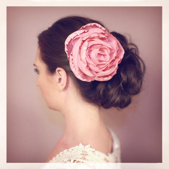 pink wedding hair accessory