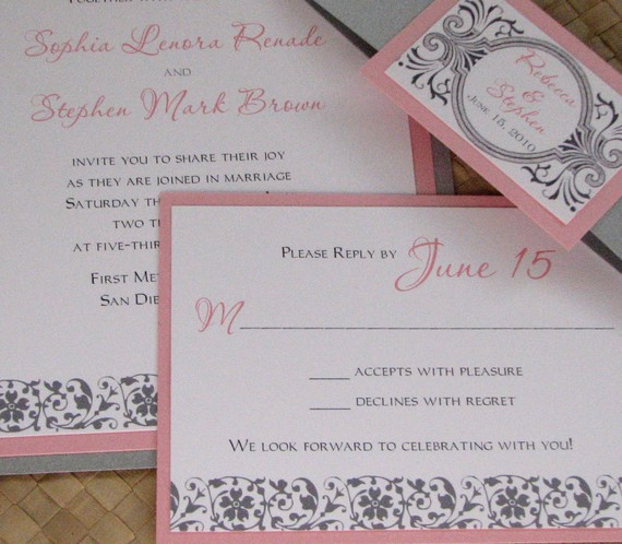 pink grey wedding invitations