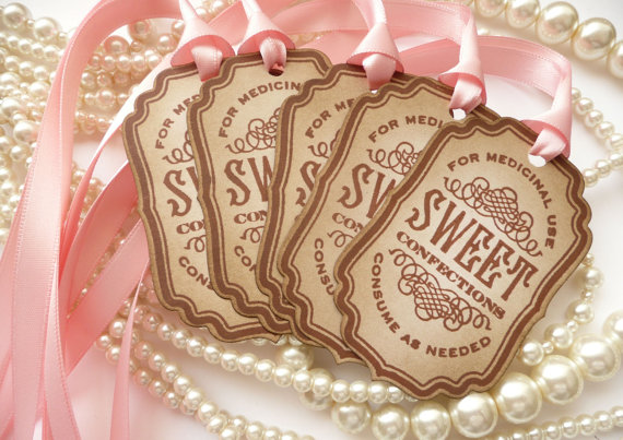 pink wedding tags