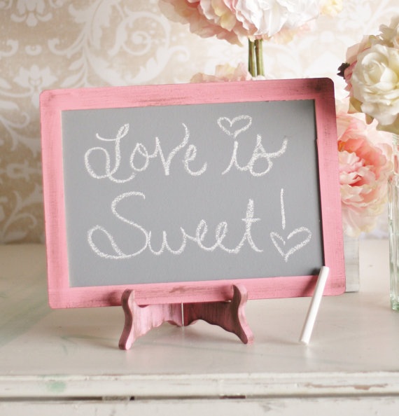 pink wedding chalkboards