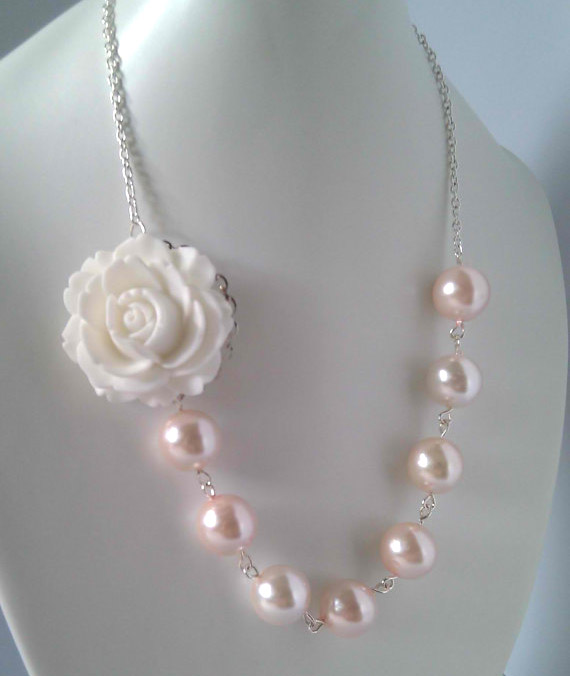 pink pearl wedding jewelry