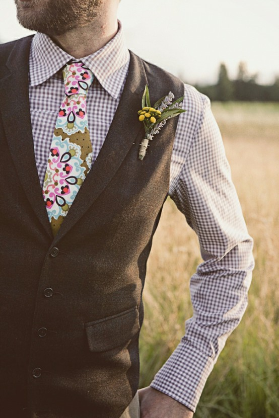 plaid groom attire