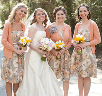 peach bridesmaid cardigans