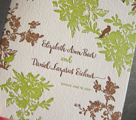 green brown wedding invitations