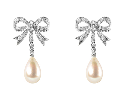 pearl diamond bridal earrings