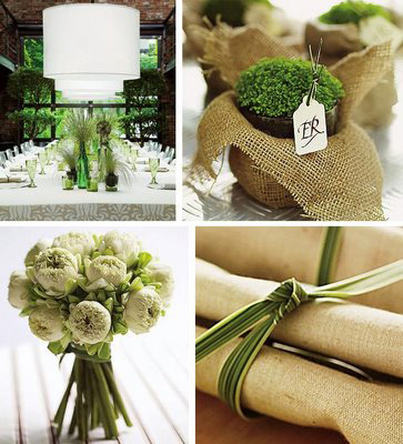 green wedding florals