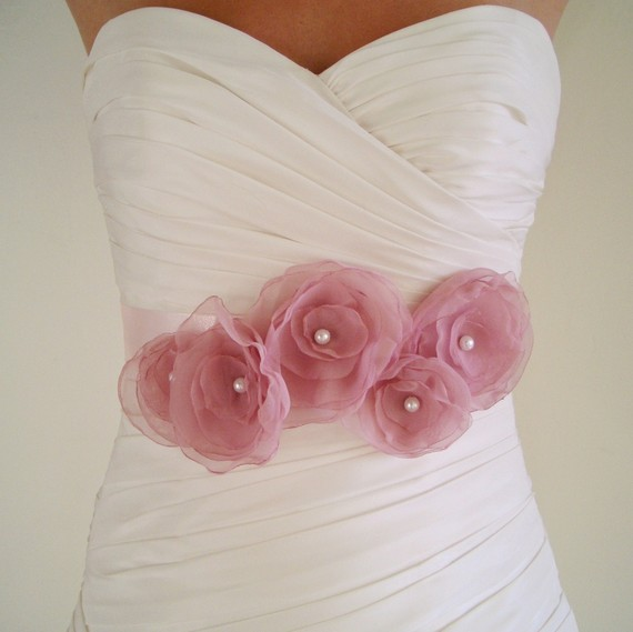 pink flower bridal sash
