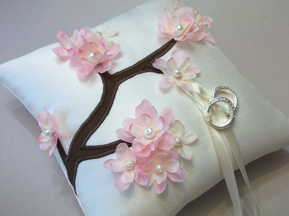 pink ring bearer pillow