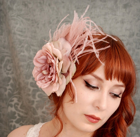 pink bridal flower hair accessory