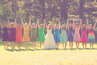 raibow bridesmaids dresses