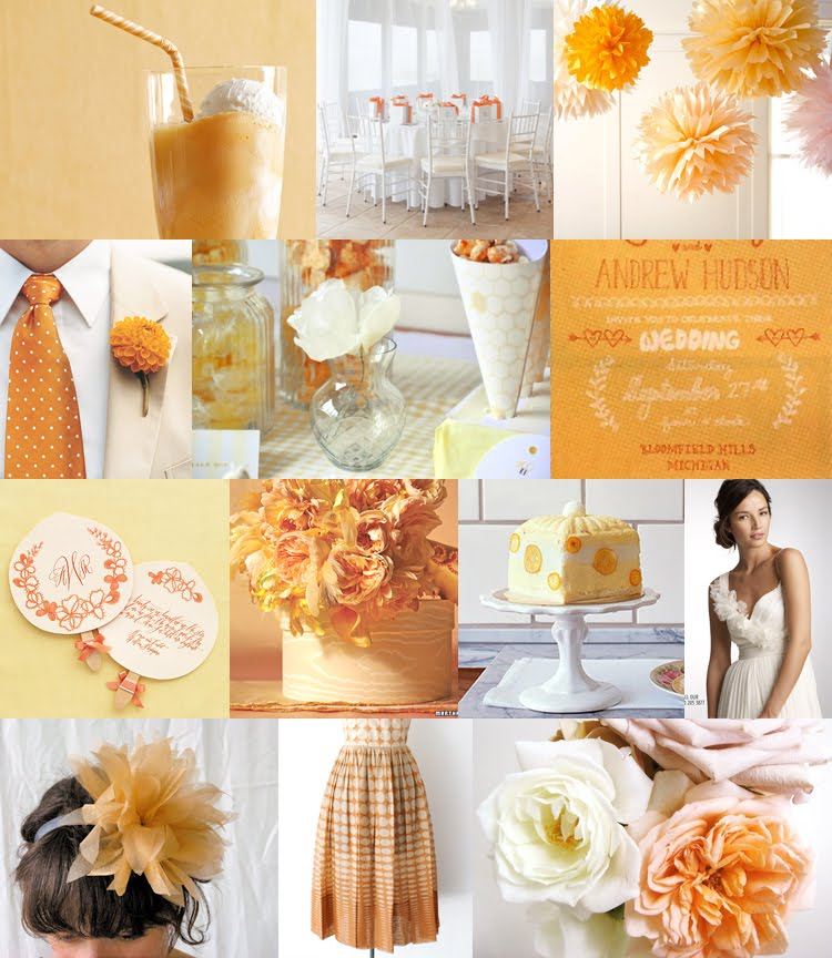 yellow orange wedding details