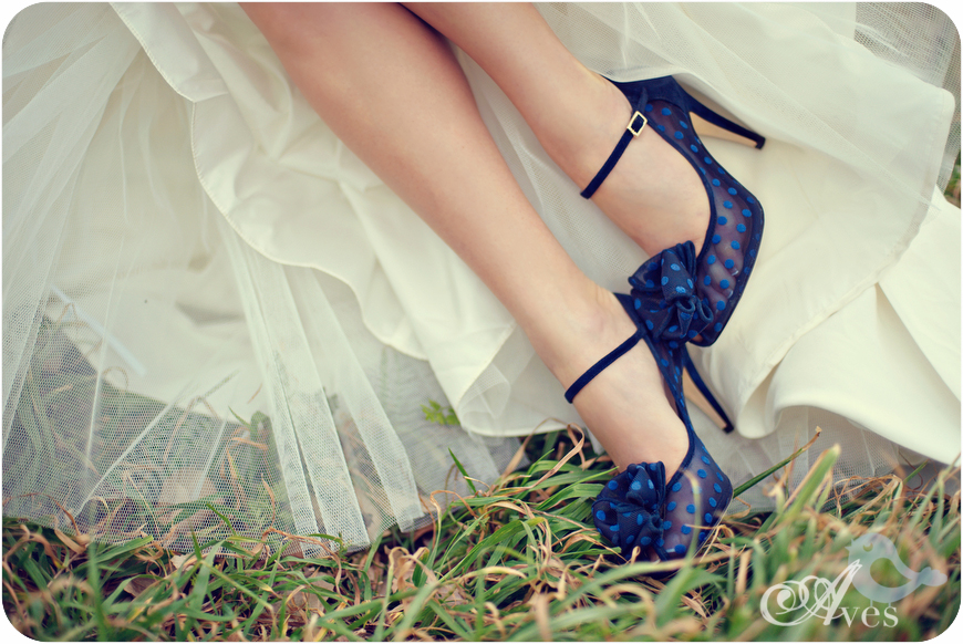 bue polka dot wedding shoes