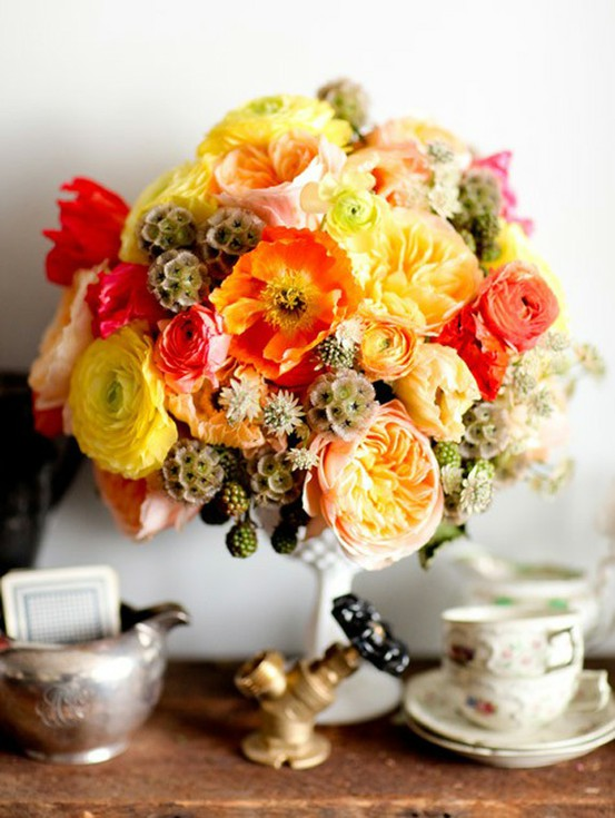 2012 colorful wedding flowers