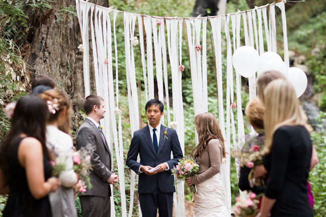 wedding ceremony ribbon backdrop