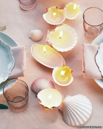 diy sea shell candles
