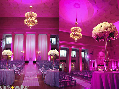 pink venue lighting